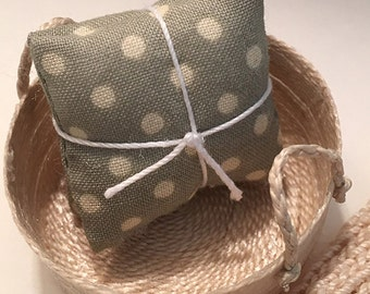 1 1/4 Inch Shabby Chic Handmade Miniature Dollhouse Throw Pillow Set - Khaki Green with Creme Dots
