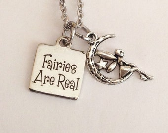 Fairy necklace, Fairies are real, whimsical, fantasy, pixie, mystical, magical, fairy tales, birthday gifts, fairy lovers