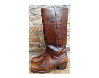 vintage 1970s  Men leather boots // Frye style campus BOOTS //biker cowboy boots // size eu 44 -uk 9.5 - us10.5