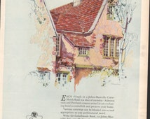 Ladies Home Journal magazine for Johns-Manville Asbestos Shingles, signed art, 1920s - PD000769