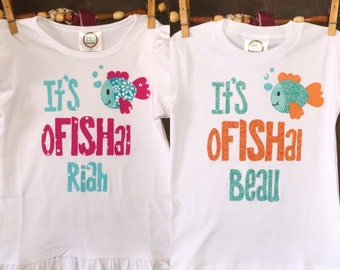 Personalized Boy or Girl It's oFISHal Adoption Shirt or Fabric Scrap Tutu Outfit