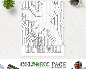 Girl Run The World Coloring Page Printable Lyric Instant Download Digital Art Adult