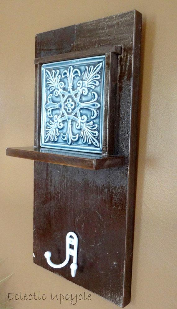 Decorative Wall Shelves Espresso : Espresso decorative tile wall shelf with double hook made