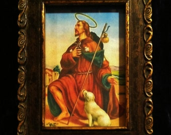Saint Roch Patron Saint Of Dogs Picture In Vintage  Wood Frame