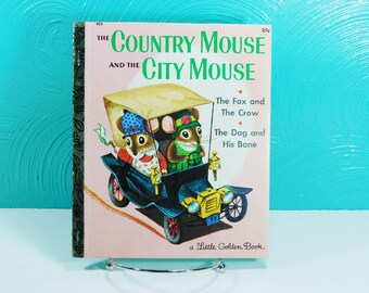 Vintage Child's Little Golden Book of Three Aesop Fables, The Country Mouse and the City Mouse, The Fox and the Crow, The Dog and His Bone