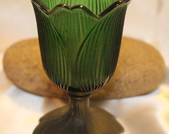 Beautiful Tulip Glass with a Leaf metal base