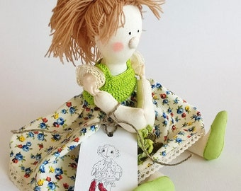 Interior Handmade Soft Doll Anny-Funny with aromatic herbs inside / Author Doll / Good Gift / New Trends / Fabric doll / Lavender Sachet