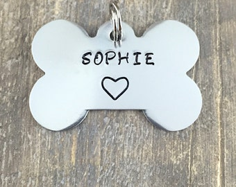 Bone Dog Tag- Hand Stamped Pet ID Tag - Personalized