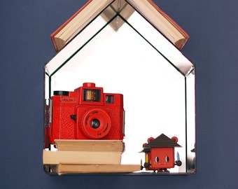 SALE Birdhouse Bookshelf Mirror&Glass