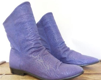 Bootalinos Vintage Supple Printed Purple Leather Slouch Fashion Boots Women 6.5