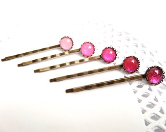 Ombre Hair Pins, Pink Bobby Pins, Set of 5 Hair Clips for Girls, Pink Hair Pins, Glitter Bobby Pins, Hair Accessories for Short Hair Jewelry