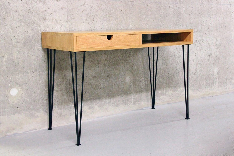 handmade desk in solid oak hairpin legs. Black Bedroom Furniture Sets. Home Design Ideas