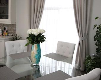 "Custom Combo Drapes ""Silver-White"", Grommet Panel, Biege Tones, Geometric coloured drapes, Drapery Panels, Made-to-Order"