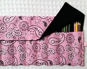 Pencil Roll, Colored Pencil Holder, Roll, The Rollup for Coloring, Pink Bandana, Fabric, Colored Pencils Roll Up, FREE SHIP Pink Paisley