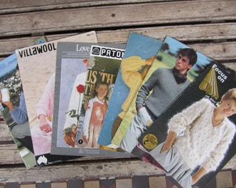 SALE - Eight Vintage Knitting and Crochet Patterns  from the 1980's - Lot - Womens - Mens - Children