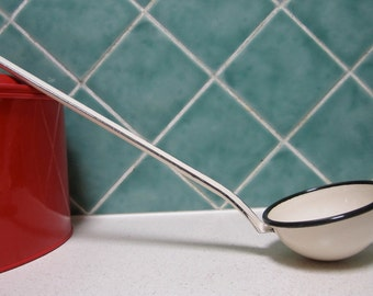 Vintage Enamel Ladle - Cream and Black