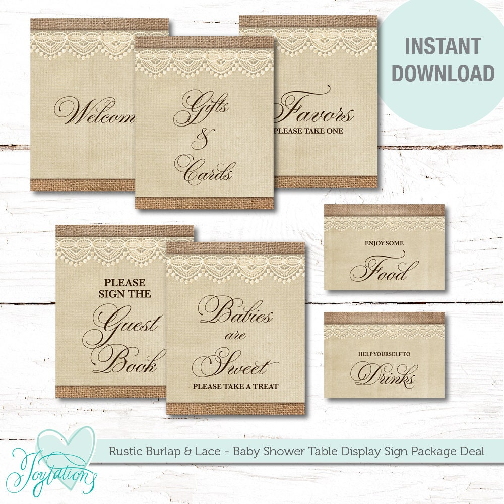 Display Baby Shower: Rustic Burlap And Lace Baby Shower Table Display Signs Package