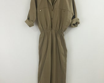 Jumpsuit Camel Button Up