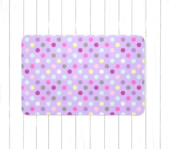 Light Purple Multi-Colored Polka Dots Area Rug Or Bath Mat