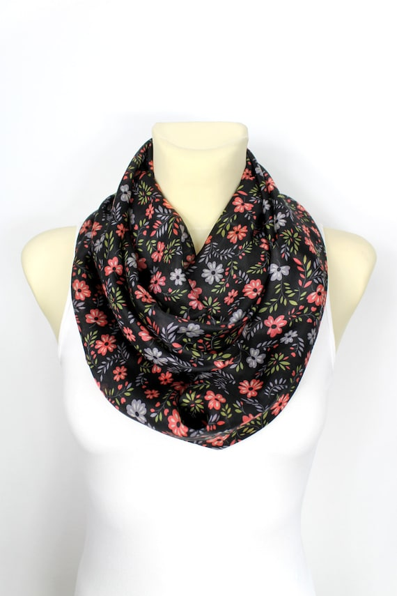 Gift for Mom Silk Infinity Scarf Floral Silk Scarf Boho Infinity Scarf Light Scarf Mothers Day from Husband Daughter Spring Celebrations