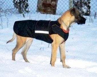 Great Dane Winter Dog Coat - Dog Jacket with underbelly protection - Custom made Dog Coat - Dog clothes - MADE TO ORDER