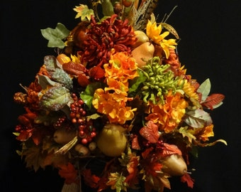 Contact me to order,Large Fall Floral Arrangement, Fall Arrangement,Flower Arrangement, Fall Wedding Decor, Rustic Decor, Fall Centerpiece