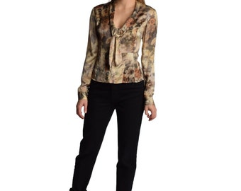 Muted Floral Silk Peplum Blouse Vintage Ascot Tie Ascot Bow Flower Print Long Sleeve XS S