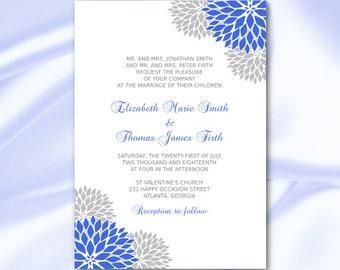 Royal Blue and Silver Wedding Invitation Template Diy Silver