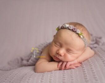 Lavender rosette and lace headband. Baby headband. Photo prop.