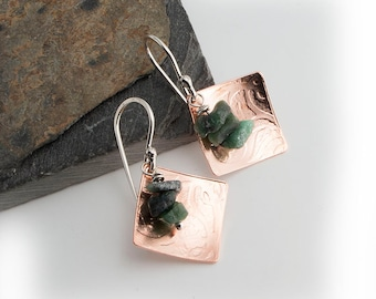 Emerald Stone Drop Square Copper Earrings,Copper Drops,Emerald Stone,Drop Earrings,Long Earrings,Everyday jewelry,Stone drops,Modern Jewelry
