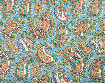 Vintage paisley polished cotton fabric ice blue peach white 3 yards 36 inches wide