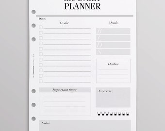 PRINTED A5 Planner Inserts | Daily Planner Inserts | Day On One Page | Minimal Black and White - For Kikki K Large, Filofax A5, LV GM Agenda