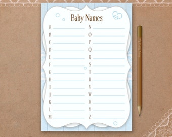 Boy Baby Name Card, Printable, Baby Shower Games, Blue Baby Shower, Shabby Chic Baby Shower, Rustic baby names game, instant download