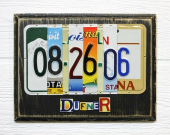 10 Year Anniversary - Gift of Tin - License Plate Art - Gift for Him - Gift for Her - Aluminum Anniversary Gift - Wedding Date Gift