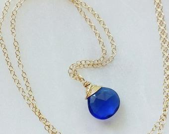 Cobalt Blue Quartz Necklace, 14k Gold Necklace, Cobalt Blue Necklace, Quartz Pendant, Small Quartz Necklace, 14k Gold Filled Necklace