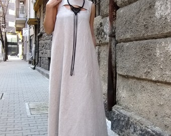 Linen Dress / Kaftan Dress / Maxi Dress / Sleeveless Dress / Party Dress / Long Summer Dress / Plus Size Dress / Formal Dress / Dress /D9016