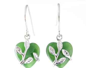Canadian Nephrite Jade Earrings, Heart 0136