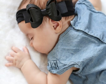 Baby Black Headband, Black Big Bow Headband, Baby Big Bow Headband, Newborn Headband, Baby Girl Headband, Nylon Headband, Bow Headband, 1431