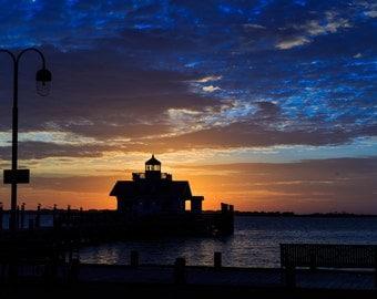 Marsh's Light Lighthouse in Manteo NC at sunrise