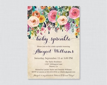Baby Sprinkle Invitation Printable OR Printed - Floral Baby Sprinkle Invites with Colorful Invitations - Elegant, Shabby Chic Invites 0025-A
