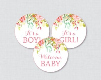 Floral Baby Shower Cupcake Toppers Printable - It's a Boy, It's a Girl, AND Gender Neutral Options - Instant Download - Pink and Gold 0041