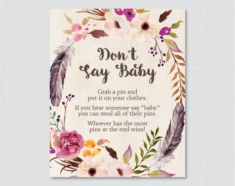 Boho Donu0027t Say Baby Baby Shower Game  Printable Diaper Pin Clothes Pin Game