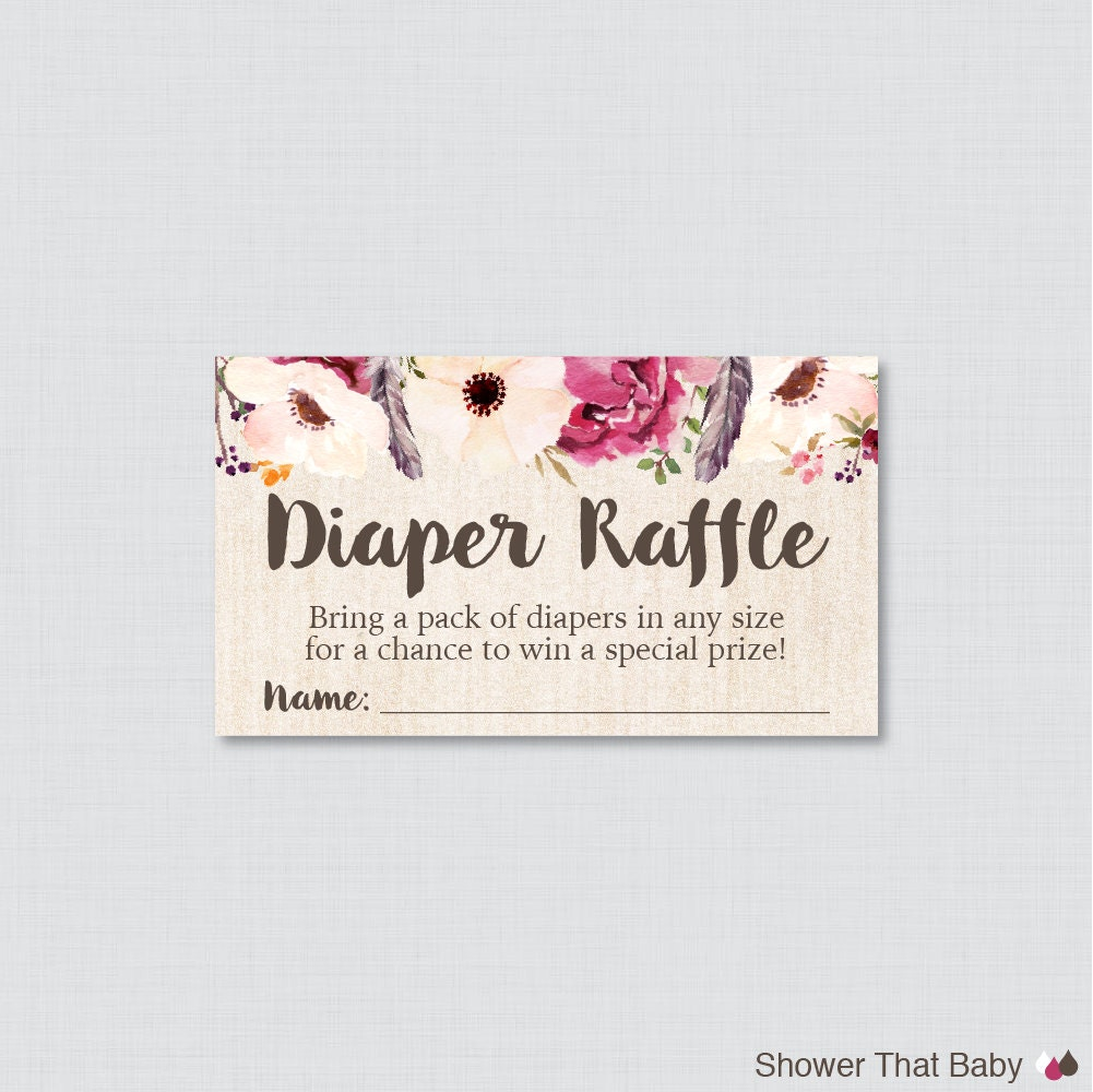 boho baby shower diaper raffle tickets and diaper raffle sign