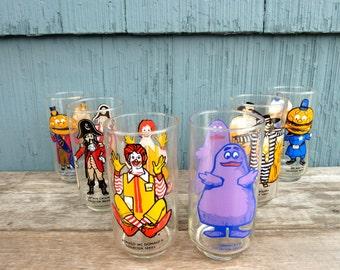 Set of McDonalds drinking glasses from 1977, set of 6, Ronald, Grimace and Hamburglar