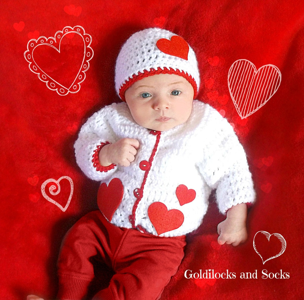 Baby Valentines outfit girl heart outfit Valentines Day hat