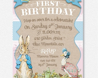 Girl's Pink Peter Rabbit party invitation |  Personalised Digital file