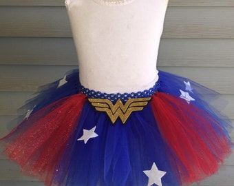 Wonder Woman Tutu Toddler Girl - Toddler Wonder Woman Tutu - Wonder Woman Inspired Tutu - Wonder Woman Skirt -  Toddler Wonder Woman Costume