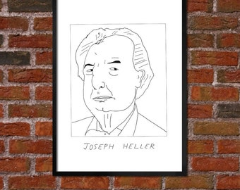 Badly Drawn Joseph Heller - Literary Poster - *** BUY 4, GET A 5th FREE***