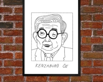 Badly Drawn Kenzaburo Oe - Literary Poster - *** BUY 4, GET A 5th FREE***