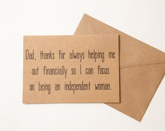 DAD FUNNY BIRTHDAY card - Card For Dad - to dad - Funny Father's Day Card  -  Humor - Funny Birthday Card for mom or dad - from daughter